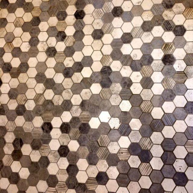 Mosaïque Pierre Mixées En Hexagone